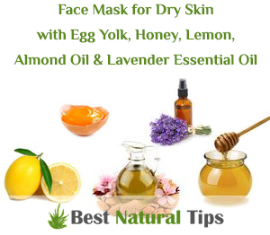 Homemade Face Mask for Dry Skin with Egg Yolk, Honey, Lemon, Almond Oil and Lavender Essential Oil