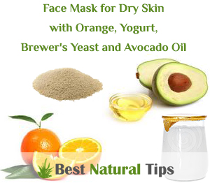 Homemade Face Mask for Dry Skin with Orange, Yogurt, Brewer's Yeast and Avocado Oil