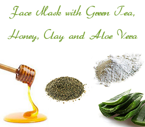 Homemade Face Mask for Oily Skin with Green Tea, Honey, Clay and Aloe Vera Gel